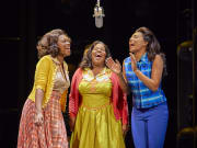 (l-r) Amber Riley and Lily Frazer in Dreamgirls at the Savoy Theatre. Credit Brinkhoff