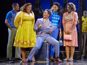 (l-r) Amber Riley, Tyrone Huntley, Liisi LaFontaine, Ibinabo Jack in Dreamgirls at the Savoy Theatre. Credit Brinkhoff