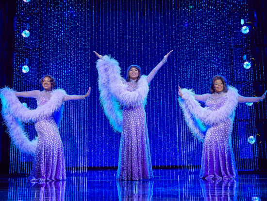 (l-r) Ibinabo Jack, Liisi LaFontaine and Amber Riley in Dreamgirls at the Savoy Theatre. Credit Brinkhoff & Mögenburg