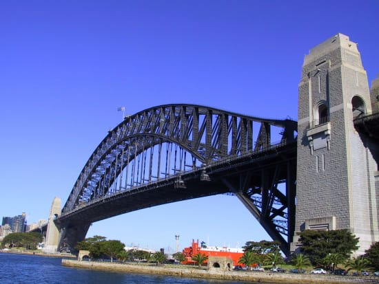 sydney harbour bridge view from cruise ship