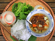 vietnamese meal noodles soup and vegetables