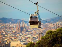 spain, barcelona, cable car, skyline, cityscape