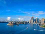 view of Sydney's city skyline and harbour waters