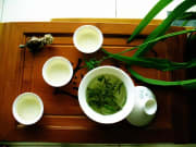 longjing tea with fresh tea leaves from hangzhou