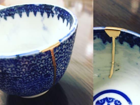 simple japanese kintsugi gold repair technique class near shin