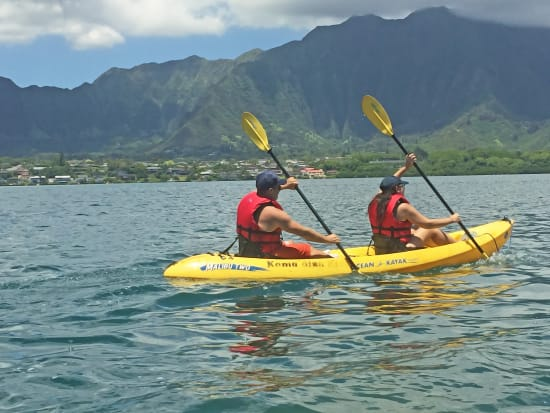 Embark on an unforgettable three hour guided snorkel and kayak adventure  with an escort boat to windward Oahu's famous Gilligan's Island and  Horseshoe Reef.