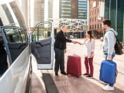Shared Transfer Service travelers greeting driver