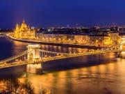 Panoramic view of Budapest at night