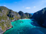 Maya Bay Thailand Blue Sea and Gigantic Rocks