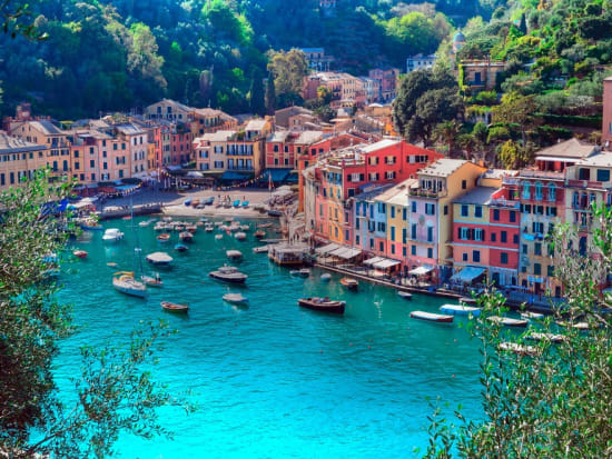 Boats and buildings at a Portofino coast
