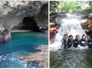 青の洞窟と滝