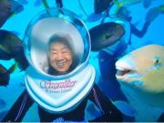 Seawalker underwater helmet diving green island