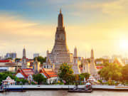 See the majestic Wat Arun from Chao Phraya