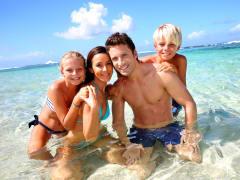 family at the beach tangalooma island resort