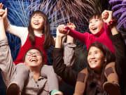 family admiring fireworks display in sydney