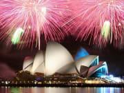 sydney opera house fireworks display pink lights