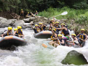 tourists on rafting adventure ayung river bali