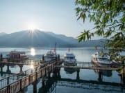 yachts docked at sun moon lake taiwan