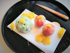 Japanese wagashi made with nerikiri dough
