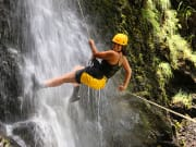 Glori, guide, on 50-foot falls
