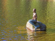 Mermaid statue Mummelsee Lake, Black Forest