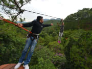 Enjoy a zip line adventure atop pine forests