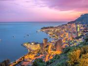 Monaco night skyline aerial