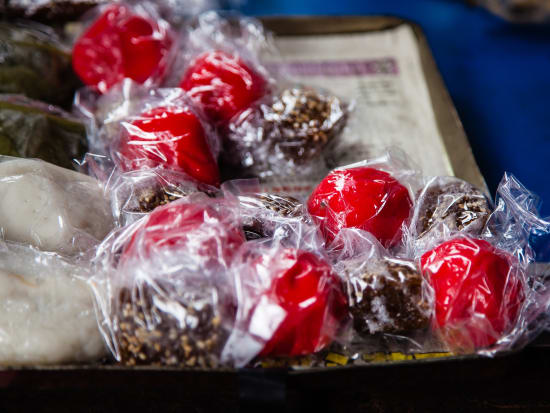 snacks wrapped in plastic sold at Zhudong Market