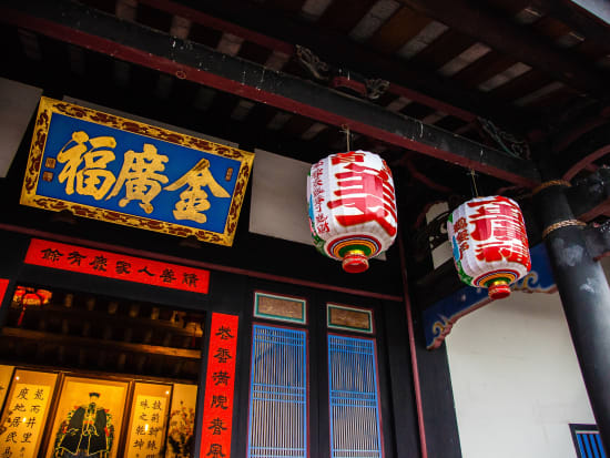 traditional taiwanese building lanterns in front