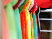 Colorful Indian fabrics on display