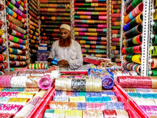 Rows of brightly-colored jewelry on display