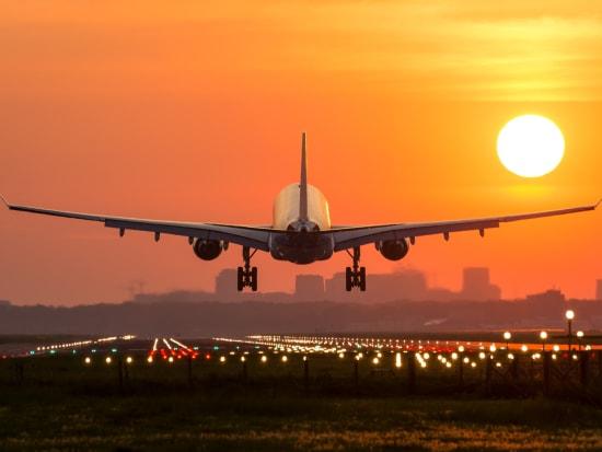 Airplane Landing Sunset