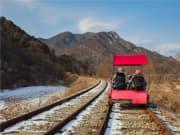 Take a scenic Gangwon rail bike ride in winter
