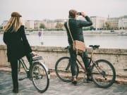 Tourists biking in Budapest