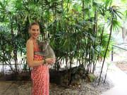 woman cuddling koala at wildlife habitat