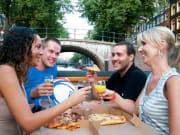 netherlands, amsterdam, pizza cruise, tourists