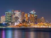 sydney opera house city skyline at night