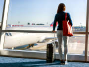 woman, travel, suitcase, airport