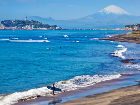 Shonan sea with Mt Fuji in the background