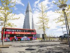 city sightseeing bus near Hallgrímskirkja Church
