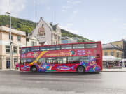 red city sightseeing hop on hop off bus in bergen
