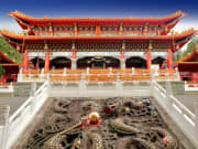 Wen Wu Temple dragon emblems in front, Taiwan tour
