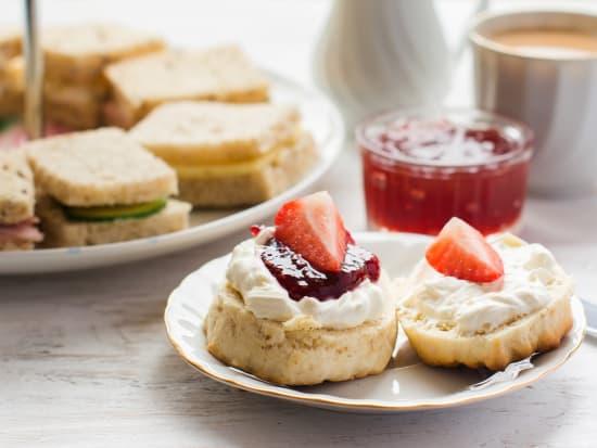 English afternoon tea, scones, jam
