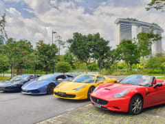 Supercars near marina bay sands