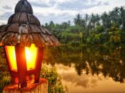 lamp with yellow light in villa escudero river