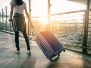 woman, airport, luggage, travel