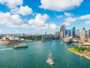 Sydney Harbour opera house and city skyline view
