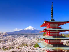 Japan_Yamanashi_Fujiyoshida_Mt Fuji_Chureito Pagoda_spring_cherry blossom_shutterstock_407342359