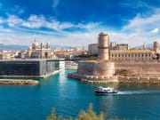 aint Jean Castle and Cathedral de la Major and the Vieux port in Marseille, France