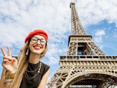 eiffel tower, woman, peace sign, posing